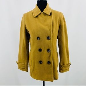 Lands End Tan & Brown Fully Lined Pea Coat